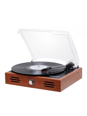 Musitrend Mini Stereo Turntable 3 Speed Record Player with Built-in Speakers, Vinyl to MP3 Recording, RCA line out, Natural Wood