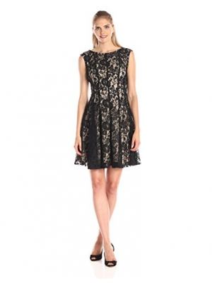 Julian Taylor Women's Cap Sleeve Lace Fit and Flare Dress