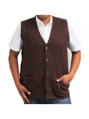 Vest Alpaca Wool V neck buttons made in PERU brown