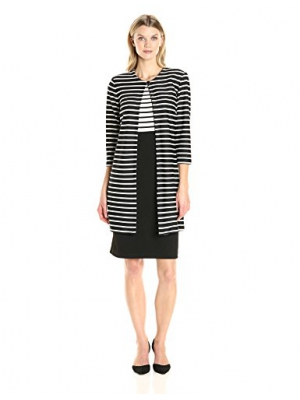 Danny & Nicole Women's Two Piece Striped Jacket and 2fer Dress.