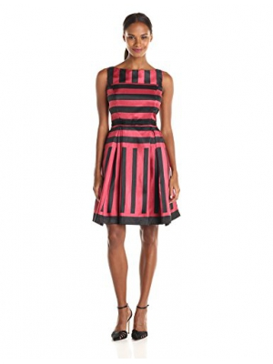 Julian Taylor Women's Sleeveless Stripe Fit and Flare Party Dress