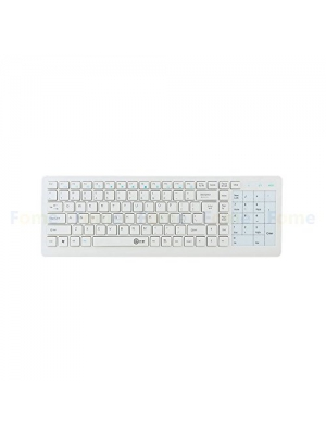 2.4GHz Wireless Touch Keyboard, FOME E-60 Silent Wireless Slim Full Multimedia Multifunction Touch Keypad Integrated Wireless Keyboard for Smart TV PC Support Window XP/7/8/Android(White)+FOME Gift