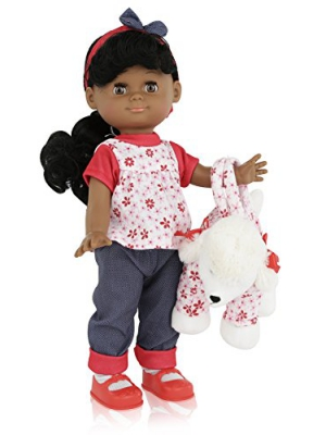 12 Inch Dark Skin Girl Play Doll, Comes Dressed with Clothing, Shoes and Matching Puppy Purse, Blinking Eyes and Cute Expressions.