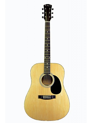 "Full Size 41"" Natural Premium Dreadnought Steel String Acoustic Guitar & DirectlyCheap(TM) Translucent Blue Medium Guitar Pick (AC-101)"