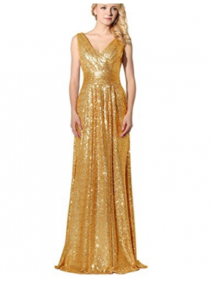 Belle House Women's Sequined V Neck Evening Dress Prom Gown SD349