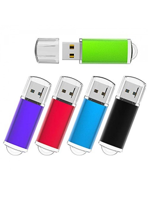 KEXIN 5 Pack 32GB USB 2.0 Flash Drives 32 GB Thumb Drive Jump Drive Multiple Color USB Memory Stick Pen Drive 5 Pieces, Black/Blue/Green/Purple/Red (32GB)