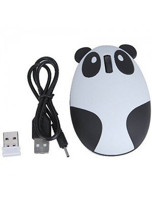 YL-VV@ Super Cute Wireless Optical Cartoon Panda Mouse Rechargeable Mini Wireless Panda Desktop Laptop Mouse Unique Novel Portable Mouse(white)