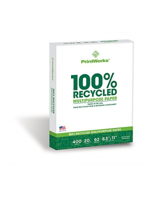 Printworks 100 Percent Recycled Multipurpose Paper, 20 Pound, 92 Bright, 400 sheets, 8.5 x 11 Inches (00018)