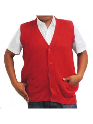 Vest alpaca and blend V neck buttons made in Peru RED