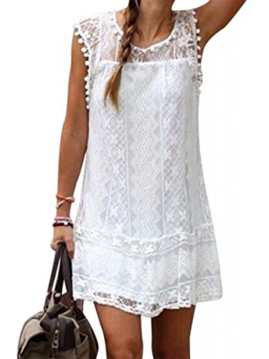 Carprinass Womens Summer Sleeveless Top Crew Neck Club Lace White Dress
