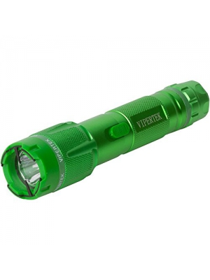 VIPERTEK VTS-T03 - Aluminum Series 999,000,000 Heavy Duty Stun Gun - Rechargeable with LED Tactical Flashlight, Green
