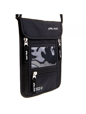 My-JAXO Family Travel Neck Pouch Wallet Safety Passport Holder for Men and Women with RFID Blocking Black or Grey