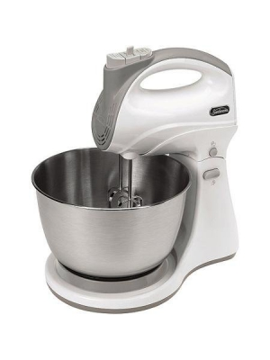 5 Speeds Hand/Stand Mixer with Powerful 250W Motor, White