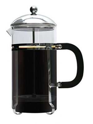 Premium French Coffee Press By Brewsentials.com - 1L Carafe Brewer - Double Filter Design - Heat Resistant Borosilicate Glass - Brewing Essentials For Java Lovers
