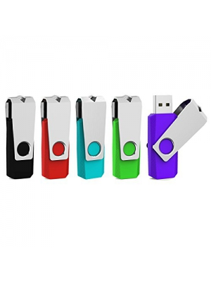 Aiibe 5pcs 2GB USB 2.0 Flash Drive Memory Stick Thumbdrives (Mixed Color : Black Red Cyan Green Purple)