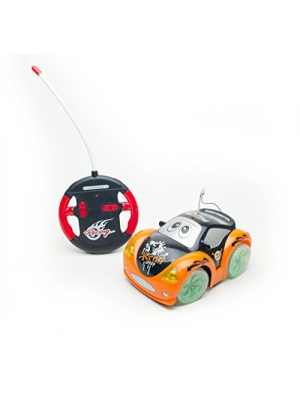 New Age 4 Channel Remote Control Cartoon Car with Flashing light, Music & Transparent Wheel Toddler Remote Control Car