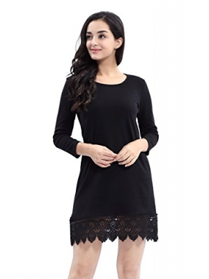 AEETE Women's Long Sleeve A-line Lace Stitching Trim Casual Dress