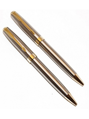 Stainless Steel and Gold Police Detective/Executive Pens (2 Pen Pack)
