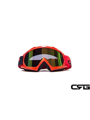 CRG Sports Motocross ATV Dirt Bike Off Road Racing Goggles ORANGE T815-7-6 T815-7-6 - Parent (Multi-color lens red frame)