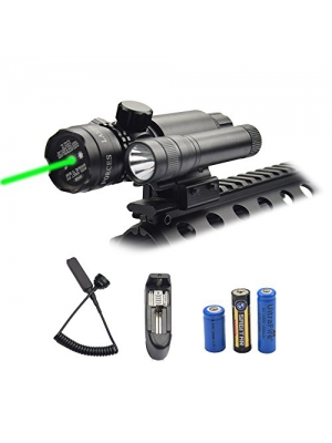 Feyachi Green Laser Sight - 532nm Green Dot sight & Flashlight combo with Charger fits in Picatinny/Weaver rails for Hunting