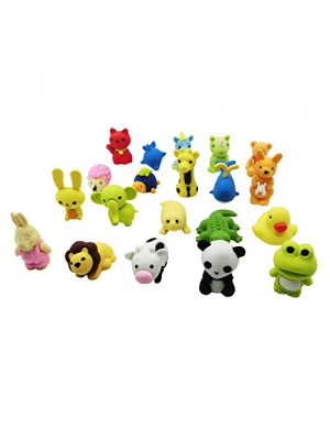 MoloTAR 20 Animal Collectible Set of Random Adorable Novelty Erasers - Amazing Variety with No Duplicates - FUN Toys Best for Party Favors