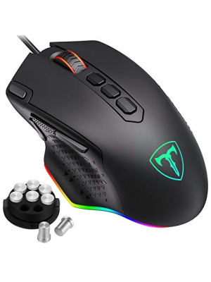 Pictek Customizable RGB Backlit Gaming Mouse Wired, 10 Programmable Buttons, Fire & Sniper Button, 12000 DPI, Weight and Balance Tuning, Lag-Free Ergonomic Game USB PC Computer Mice