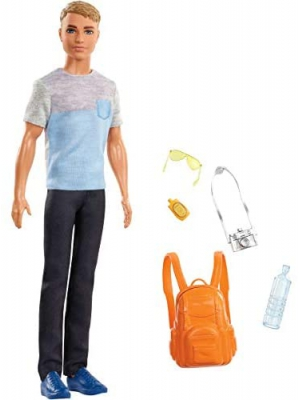 Barbie Travel Ken Doll, Dark Blonde, with 5 Accessories Including a Camera and Backpack, for 3 to 7 Year Olds [Amazon Exclusive]