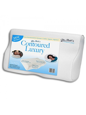 Contoured Luxury - Neck and Cervical Pillow by Dr. Bob's - Memory Foam Contours for Back-Sleeping and Side-Sleeping, Jaquard Velour Cover, Open cell foam, Stays Cool, 3 Sizes