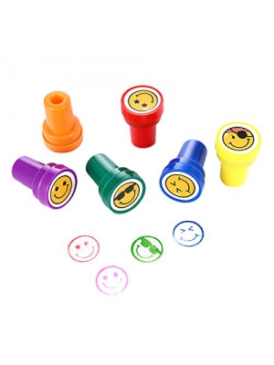 Ink Stamps for kids, LUCKYBIRD Best Self Inking Plastic Goofy Smile Silly Face Stampss Set, 6 Count