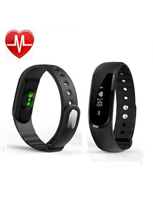 Fitness Tracker with Heart Rate Monitor,VRunow Smart Armband Bracelet Wristband Wireless with Bluetooth, Vertical & Horizontal Touch Screen,Music control,Compatible with iPhone IOS and Android phone.