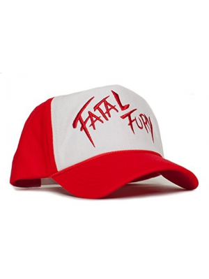 Fatal Fury Embroidered Curved Cloth & Braid Unisex-Adult Hat -One-Size Red/White