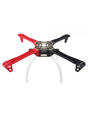 F450 Multi-Rotor Quadcopter Frame 4-Axis Airframe Frame (Red+Black)+ Landing Skid Gear(White) Wheel Rack Kit Support for DJI KK MK MWC RC Quad by Weyland