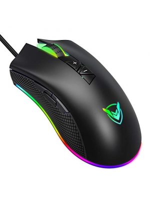 PICTEK Gaming Mouse Wired, 10000 DPI, 8 Programmable Buttons, 16.8 Million RGB Backlit, Ergonomic Comfortable Grip Optical Computer PC Gaming Mice with Fire Button - Upgraded PMW3325 Sensor, Black