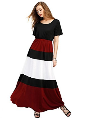 ROMWE Women's Casual Short Sleeve Loose Color Block Flowy Party Maxi Dress