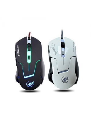 Gaming Mouse, YAMAY® USB Corded Wired Optical 6D 6 Button 2400 DPI 0.8mm with Blue Light Flashing Anti-Slip Built in weighting Iron Professional for Computer Laptop Desktop PC Gamer Game White