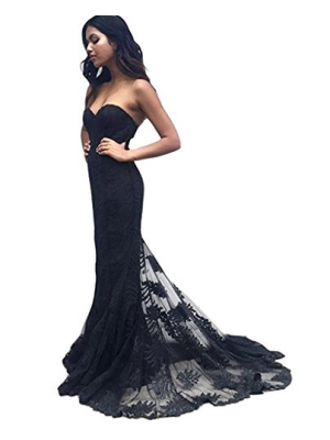 Simple Sweetheart Neckline Black Lace Prom Dress Mermaid Bridesmaid Long Evening Dress