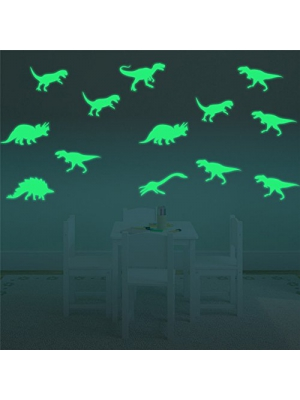 FLY SPRAY 9pcs Creative Luminous Wall Decorative Dinosaur Sticker Glow in the Dark Light Decor Removable Vinyl Decals Mural Baby Nursery Room