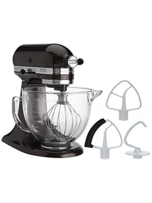 KitchenAid 5-Quart Stand Mixer Glass Bowl Cafe Black Storm