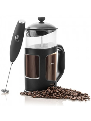 Bean Envy 34 oz French Press Coffee, Espresso and Tea Maker - Premium Bundle Includes Electric Milk Frother - Best Press For 1, 3, 4 or 8 Cups