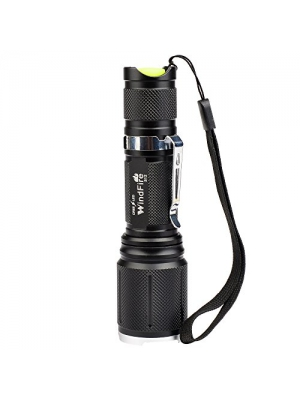 WindFire® S12 2000 Lumen Flashlight 5 Modes Cree T6 U2 XM-L Led Zoomable Camping Rechargeable Torch Flash Light Lamp With Clip and Lanyard Strip for Camping Hiking and Other Outdoor Sports Indoor Activities(No Battery)