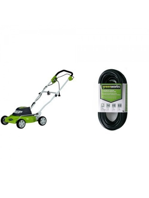 Greenworks 18-Inch 12 Amp Corded Lawn Mower 25012 with 50-Foot Indoor & Outdoor Extension Cord ECOA010