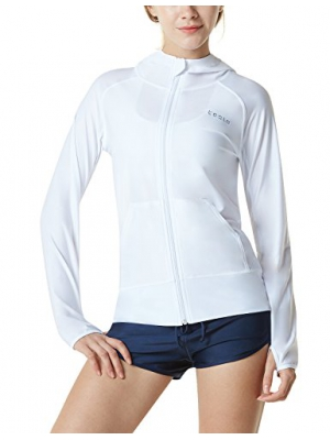 Tesla TM-FSZ02-WHT_Medium Women's UPF 50+ Hoodie Zip Front Long Sleeve Top Rashguard Swimsuit FSZ02