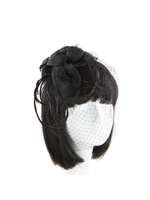 Funky Junque's Sinamay Fascinator Cocktail Hat with Headband and Netting