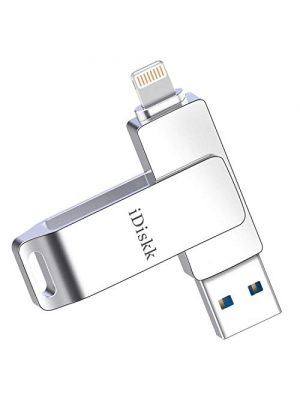 iDiskk 32GB USB 3.0 Flash Drive for iPhone iPad Lightning External Storage Memory Stick Expansion for iPad iOS PC Macbook,Touch ID Encryption,Mfi Certified