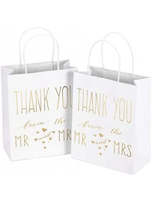 "LaRibbons Medium Size Gift Bags - Gold Foil""Mr. and Mrs. Thank You"" White Paper Bags with Handles for Wedding, Bridal Shower, Birthday, Baby Shower, Party Favors - 12 Pack - 8"" x 4"" x 10"""