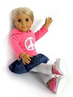 Peace Doll Outfit for American Girl Dolls - (Includes Skirt, Sweatshirt, Leggings,and Sneakers)