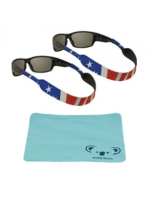 Chums Neoprene Classic Eyewear Retainer, Sunglass Strap, & Sunglasses Band | 2pk Bundle + Cloth