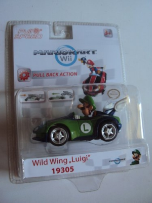 Wild Wing Luigi Pull and Speed Nintendo Mario Kart Wii Toy Pullback Car