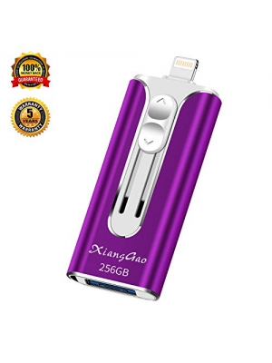 iOS Flash Drive for iPhone Photo Stick 256GB XiangGao Memory Stick USB 3.0 Flash Drive Lightning Thumb Drive for iPhone iPad Android and Computers (purple-256gb) …