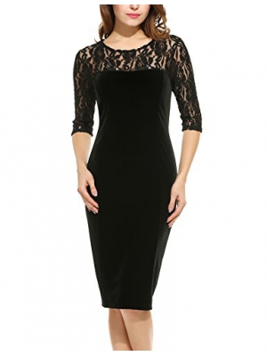 Burlady Women Floral Lace 3/4 Sleeve Party Work Bodycon Dress